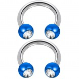 2pc 14 Guage Circular Barbell Earrings Daith Forward Helix 14g Surgical Steel Tragus Anti Rook Rim Ear Lobe Eyebrow Lip Cartilage Pinna Bridge CZ Cubic Zirconia Blue