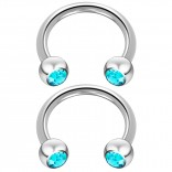2pc 14 Guage Cirular Barbell Horseshoe Cartilage Earrings 10mm Tragus Helix Septum 14g Aquamarine Piercing Jewelry
