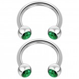 2pc 14 Guage Cirular Barbell Horseshoe Cartilage Earrings 10mm Tragus Helix Septum 14g Blue Zircon Piercing Jewelry