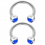 2pc 14 Guage Cirular Barbell Horseshoe Cartilage Earrings 12mm Tragus Helix Septum 14g Sapphire Piercing Jewelry