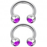 2pc 14 Guage Cirular Barbell Horseshoe Cartilage Earrings 8mm Tragus Helix Septum 14g Amethyst Piercing Jewelry