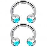2pc 14 Guage Cirular Barbell Horseshoe Cartilage Earrings 8mm Tragus Helix Septum 14g Aquamarine Piercing Jewelry