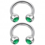 2pc 14 Guage Cirular Barbell Horseshoe Cartilage Earrings 8mm Tragus Helix Septum 14g Emerald Piercing Jewelry