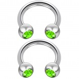 2pc 14 Guage Cirular Barbell Horseshoe Cartilage Earrings 8mm Tragus Helix Septum 14g Peridot Piercing Jewelry