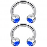 2pc 14 Guage Cirular Barbell Horseshoe Cartilage Earrings 8mm Tragus Helix Septum 14g Sapphire Piercing Jewelry