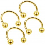 4pc 18g Circular Barbell Horseshoe Earrings Cartilage Tragus Helix Daith Gold Piercing Jewelry 8mm
