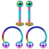 16g 8mm Cartilage Piercing Earrings 16 Gauge Rainbow 8mm Earring Pierced Hoop For Ears Hypoallergenic Labret Studs Piercing Jewelry Rings Surgical Steel