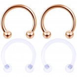 4pc 10mm Rose Gold Anodized Surgical Steel 14g Septum Retainer Ring Horseshoe Piercing Jewelry Tragus Eyebrow Circular Barbell Bioflex Retainer 3mm Ball