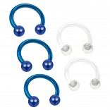 3pc 16g Blue Horseshoe Earrings Circular Barbell 8mm 5/16 Helix Tragus Piercing - 2pc Clear Retainer