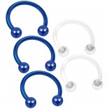 3pc 16g Blue Horseshoe Earrings Circular Barbell Daith Tragus Piercing Rings - 2pc Clear Retainer
