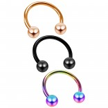 3pc 16g Rose Gold Black Rainbow Circular Barbell Horseshoe Tragus Helix Auricle Piercing Rings 10mm