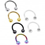 4pc 16g Horseshoe Earrings 8mm 316L Stainless Steel Circular Tragus Auricle - 2pc Clear Retainer