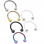 4pc 16g Horseshoe Earrings 316L Stainless Steel Circular Tragus Auricle Daith - 2pc Clear Retainer