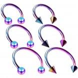 6pc 16g Circular Barbell Horseshoe Tragus Helix Earrings Daith Spikes Bulk Pack Lot Set 6mm 8mm 10mm