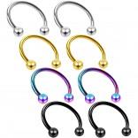 8pc 16g Circular Barbell Horseshoe Earrings Tragus Helix Daith Women Piercing Jewelry Set Lot 12mm