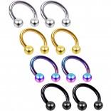 8pc 16g Circular Barbell Horseshoe Earrings Tragus Helix Daith Women Piercing Jewelry Set Lot 8mm