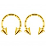 2pc 14g Surgical Stainless Steel Gold Horseshoe Hoop 4mm Spike Circular Barbells Earrings Cartilage Helix Septum Nose Lip Rings - 10mm