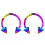 2pc 14g Surgical Stainless Steel Rainbow Horseshoe Hoop 4mm Spike Circular Barbells Earrings Cartilage Helix Septum Nose Lip Rings - 10mm
