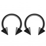 2pc 14g Surgical Stainless Steel Black Horseshoe Hoop 5mm Spike Circular Barbells Earrings Cartilage Helix Septum Nose Lip Rings - 10mm