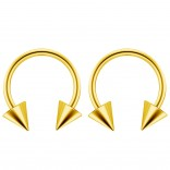 2pc 14g Surgical Stainless Steel Gold Horseshoe Hoop 5mm Spike Circular Barbells Earrings Cartilage Helix Septum Nose Lip Rings - 12mm