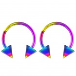 2pc 14g Surgical Stainless Steel Rainbow Horseshoe Hoop 5mm Spike Circular Barbells Earrings Cartilage Helix Septum Nose Lip Rings - 12mm