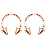 2pc 14g Surgical Stainless Steel Rose Gold Horseshoe Hoop 5mm Spike Circular Barbells Earrings Cartilage Helix Septum Nose Lip Rings - 12mm