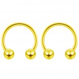 2pc 14g Gold Surgical Stainless Steel Horseshoe Hoop 5mm Ball Circular Barbells Earrings Cartilage Helix Septum Nose Lip Rings - 12mm