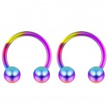 2pc 14g Rainbow Surgical Stainless Steel Horseshoe Hoop 5mm Ball Circular Barbells Earrings Cartilage Helix Septum Nose Lip Rings - 10mm