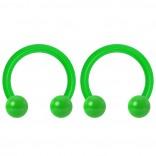 2pc 14g Dental-Grade Acrylic Green Horseshoe Hoop 4mm Ball Circular Barbells Earrings Cartilage Helix Septum Nose Lip Rings - 8mm