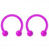 2pc 14g Dental-Grade Acrylic Purple Horseshoe Hoop 4mm Ball Circular Barbells Earrings Cartilage Helix Septum Nose Lip Rings - 10mm