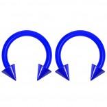 2pc 14g Dental-Grade Acrylic Blue Horseshoe Hoop 4mm Spike Circular Barbells Earrings Cartilage Helix Septum Nose Lip Rings - 8mm