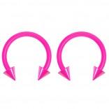 2pc 14g Dental-Grade Acrylic Pink Horseshoe Hoop 4mm Spike Circular Barbells Earrings Cartilage Helix Septum Nose Lip Rings - 10mm