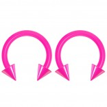 2pc 14g Dental-Grade Acrylic Pink Horseshoe Hoop 4mm Spike Circular Barbells Earrings Cartilage Helix Septum Nose Lip Rings - 8mm