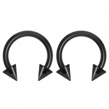 2pc 14g Dental-Grade Clear Acrylic Black Horseshoe Hoop 4mm Spike Circular Barbells Earrings Cartilage Helix Septum Nose Lip Rings - 8mm