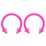 2pc 14g Dental-Grade Clear Acrylic Pink Horseshoe Hoop 4mm Spike Circular Barbells Earrings Cartilage Helix Septum Nose Lip Rings - 10mm