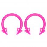 2pc 14g Dental-Grade Clear Acrylic Pink Horseshoe Hoop 4mm Spike Circular Barbells Earrings Cartilage Helix Septum Nose Lip Rings - 8mm