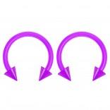 2pc 14g Dental-Grade Clear Acrylic Purple Horseshoe Hoop 4mm Spike Circular Barbells Earrings Cartilage Helix Septum Nose Lip Rings - 10mm