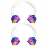 2pc 14g Rainbow Dice Flexible Bioflex Circular Barbell Horseshoe Septum Ring Bioplast Piercing 10mm