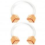 2pc 14g RoseGold Dice Flexible Bioflex Circular Barbell Horseshoe Septum Ring Bioplast Piercing 10mm