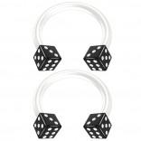 2pc 14g Dice Flexible Bioflex Circular Barbell Horseshoe Septum Ring Bioplast Piercing 10mm Black