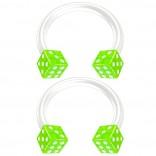 2pc 14g Dice Flexible Bioflex Circular Barbell Horseshoe Septum Ring Bioplast Piercing 10mm Green