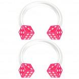 2pc 14g Dice Flexible Bioflex Circular Barbell Horseshoe Septum Ring Bioplast Piercing 10mm Pink