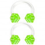 2pc 14g Dice Flexible Bioflex Circular Barbell Horseshoe Septum Ring Bioplast Piercing 8mm Green
