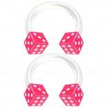 2pc 14g Dice Flexible Bioflex Circular Barbell Horseshoe Septum Ring Bioplast Piercing 8mm Pink