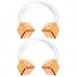 2pc 14g Dice Flexible Bioflex Circular Barbell Horseshoe Septum Ring Bioplast Piercing 8mm