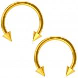 2pcs 16g Gold Circular Barbell Horseshoe Earrings Spike Daith Helix Hoop Tragus 10mm 3/8 Piercing