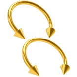 2pcs Gold Circular Barbell Horseshoe Earrings Spike Daith Tragus Helix Hoop Septum Eyebrow Piercing