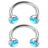 2pc 16g Stainless Steel Circular Barbell Horseshoe crystal Tragus Earrings Aqua Crystal 8mm 5/16