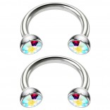 2pc 16g Stainless Steel Circular Barbell Horseshoe Crystal Tragus Aurora Borealis 8mm 5/16