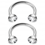 2pc 16g Stainless Steel Circular Barbell Horseshoe Crystal Tragus Cubic Zirconia 8mm 5/16
